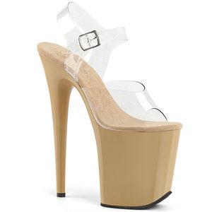 Shoes - Stiletto High Heel Platform Ankle-Strap Shoes Tan